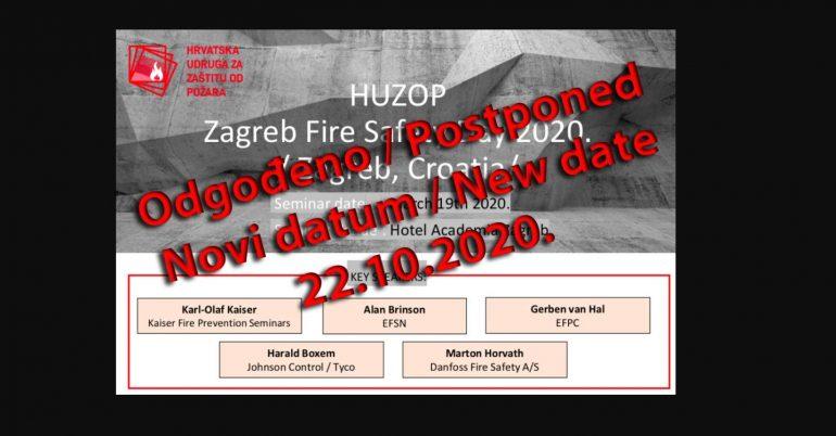 ODPOVED DOGODKA: Dan varstva pred požarom, Zagreb, 19. marec 2020